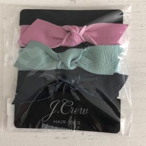 NWT J.Crew Leather Bow Hair Ties